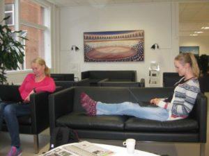 Unge lærere arbejder i afslappede omgivelser på lærerværelset